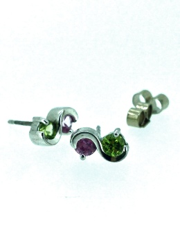 18ct White Gold Pink Sapphire and Green Peridot Earrings