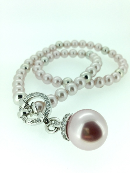 Zinzi Ladies Sale Silver Jewellery - Pink Synthetic Pearl Necklace with Pink Pearl Pendent - Zic730z, Zih459r, Zl356z