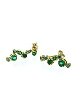 Ladies Diamond Earring Sale - 9ct Gold Emerald and Diamond Earrings - 6123yde